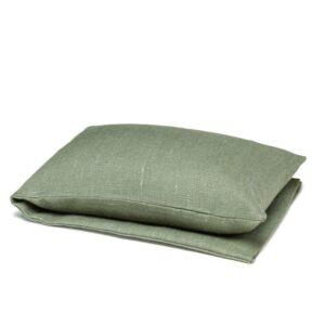 Olive green wheat warmer in linen