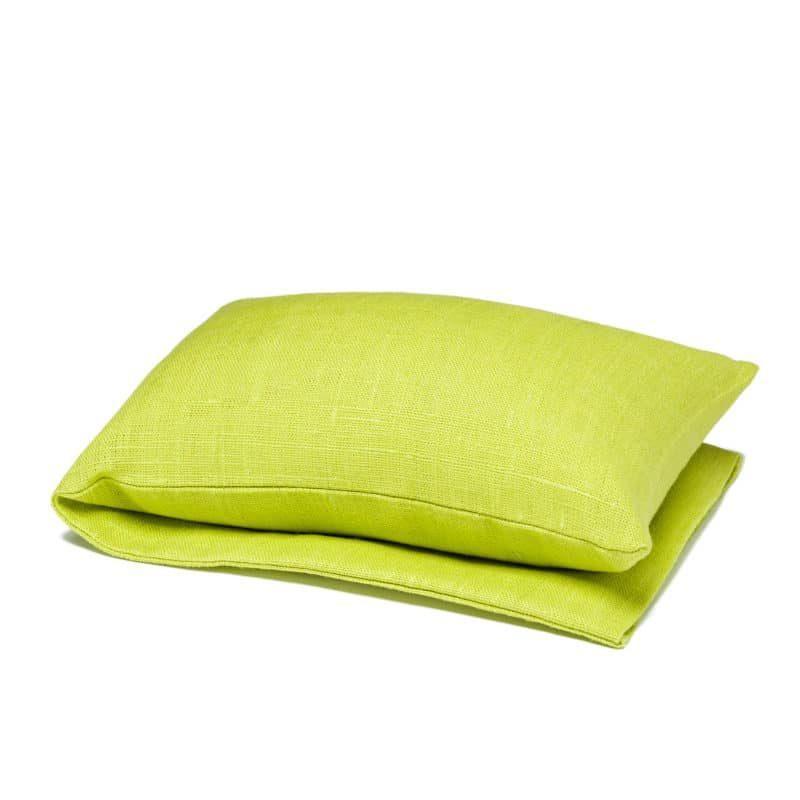 Lime green wheat warmer in linen