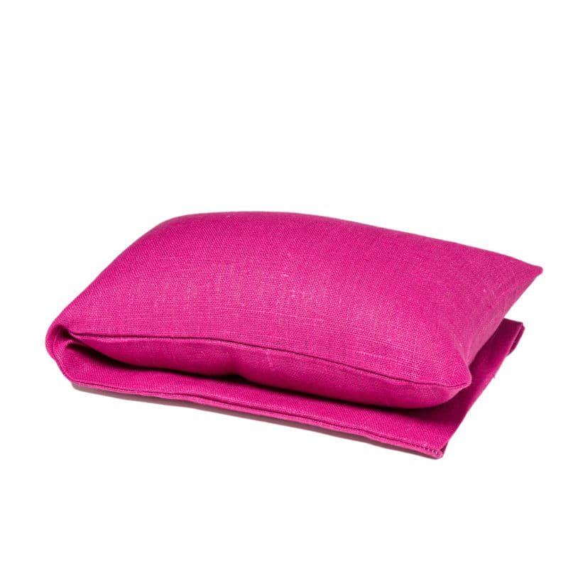 Fuchsia pink wheat warmer in linen