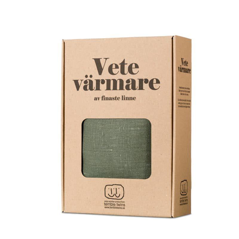 Olive green wheat warmer in box