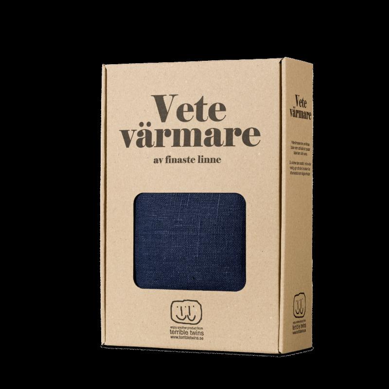 Navy blue wheat warmer in box