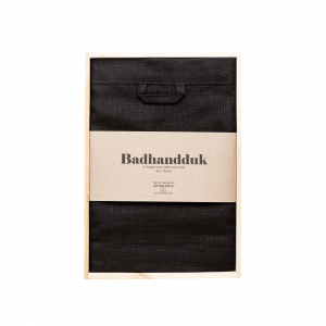 Linen bath towel black
