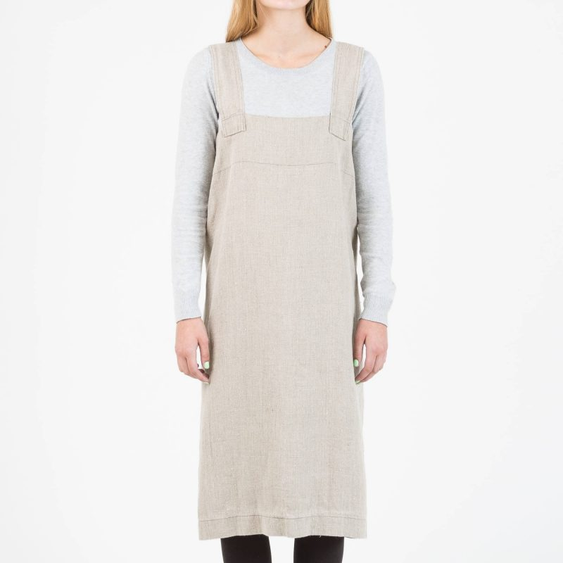 Nature cross-back apron in linen 1