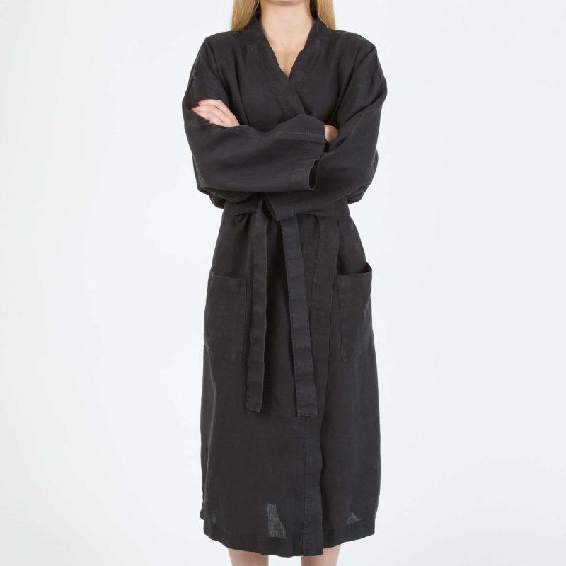 Svart kimono i linne