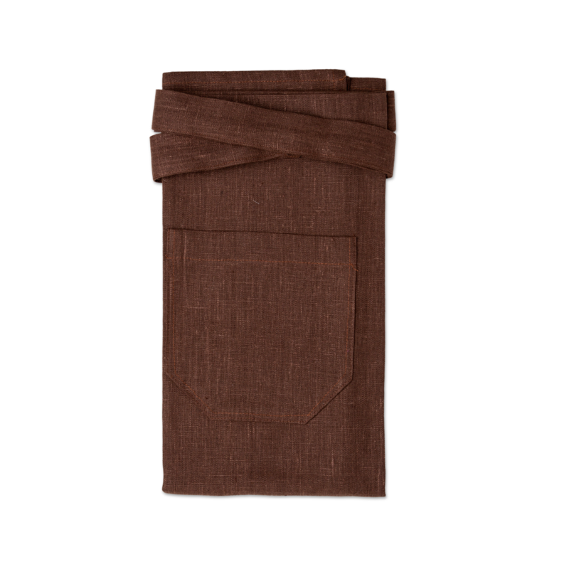 Brown bistro apron in linen