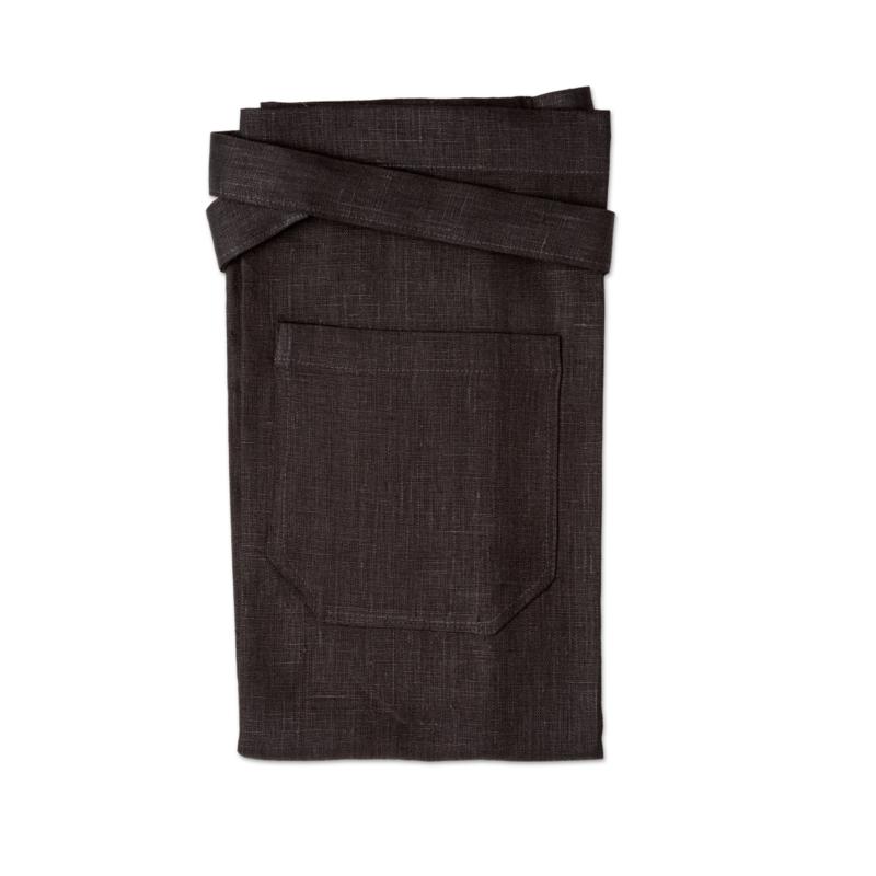 Black bistro apron in linen