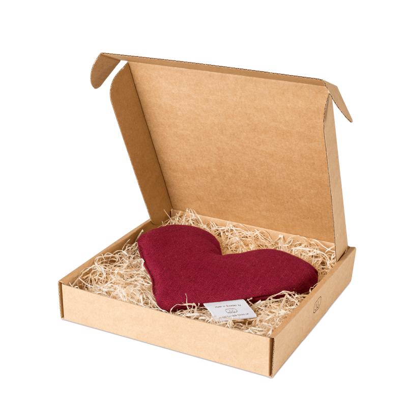 Burgundy sweetheart wheat warmer in box