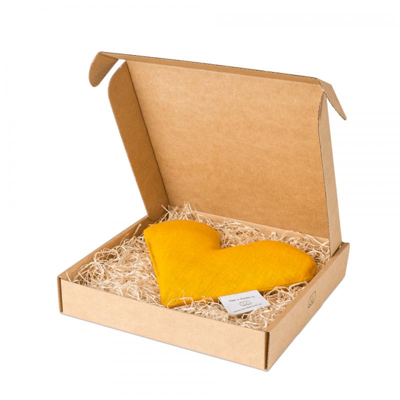 Yellow sweetheart wheat warmer in box