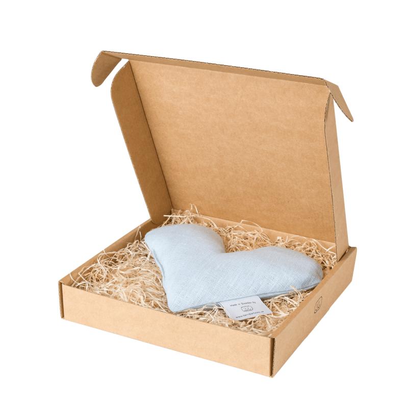 Light blue sweetheart wheat warmer in box