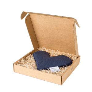 Navy blue sweetheart wheat warmer in box