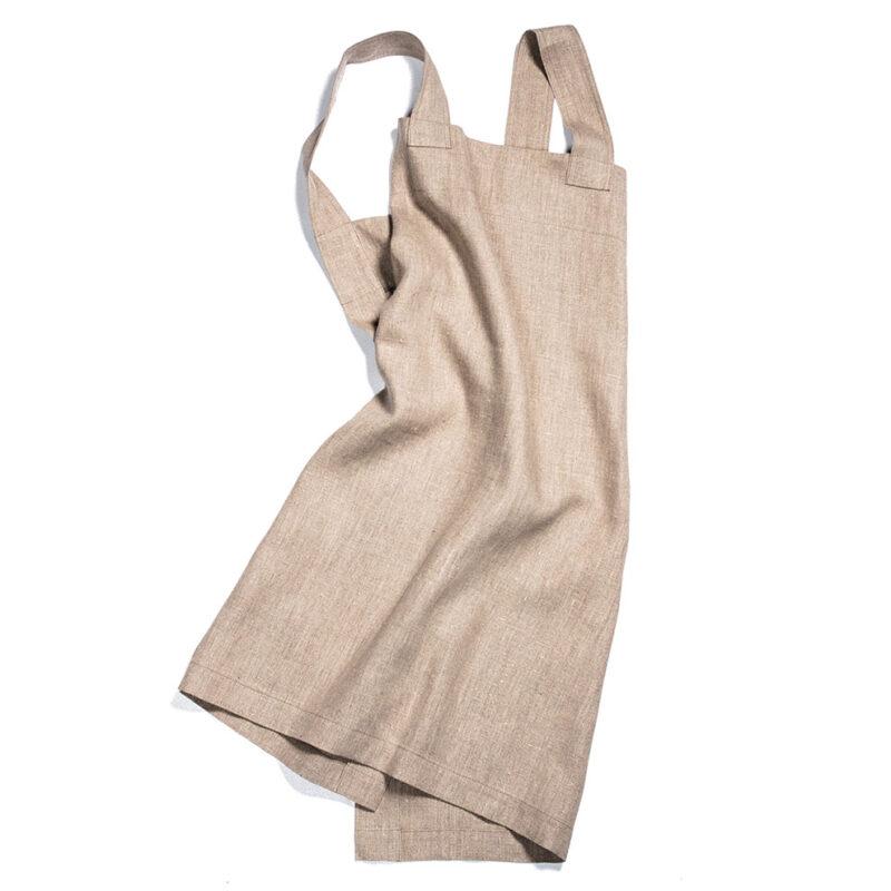 Natur omlottförkläde i linne